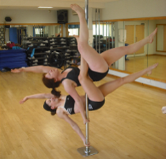Pole Fitness instructors Karen and Amy